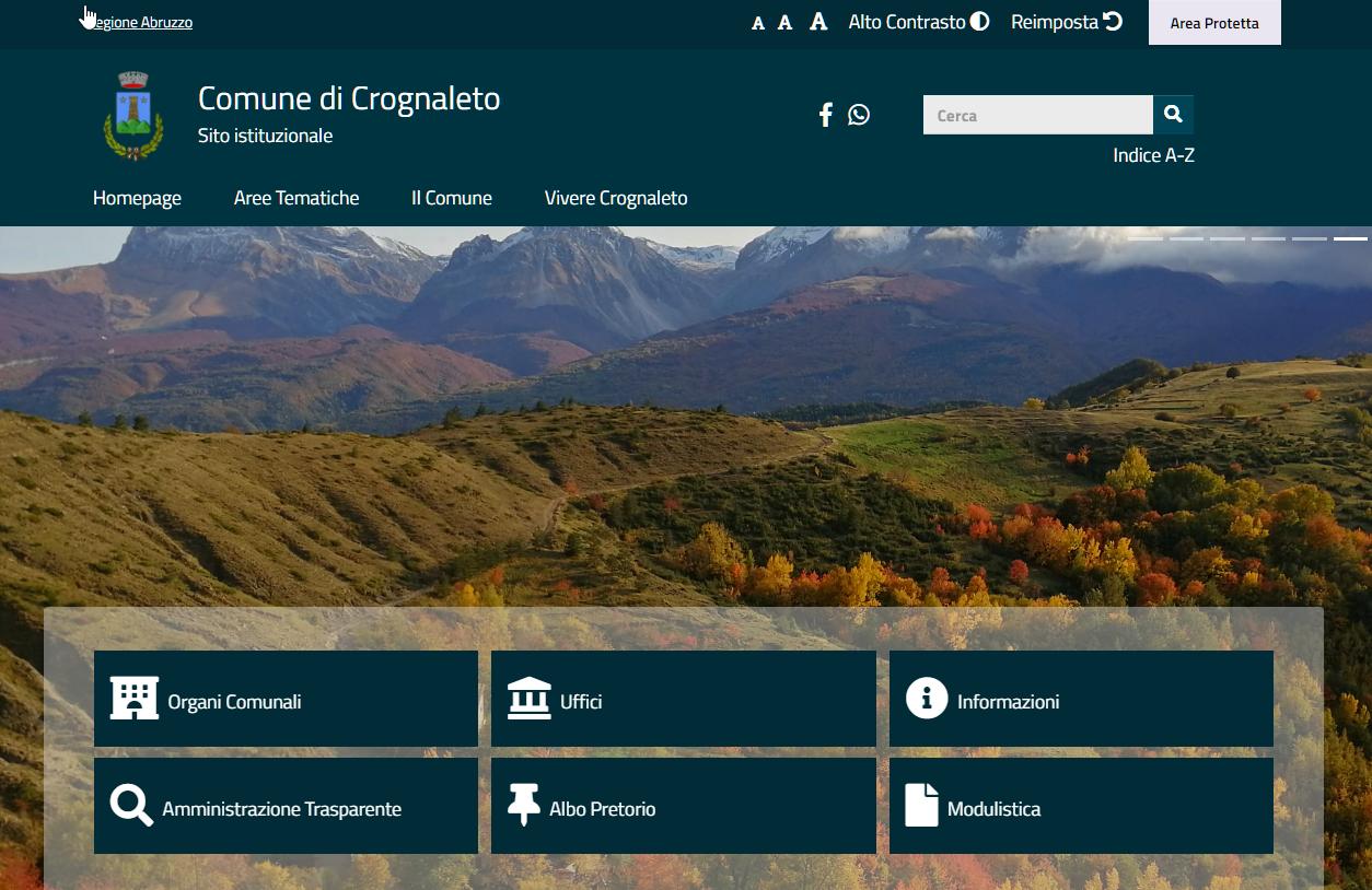 Nuovo sito web del Comune di Crognaleto a norma Accessibilità Privacy e Design
